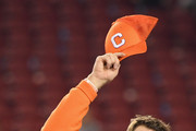 Head coach Dabo Swinney of the Clemson Tigers celebrates his teams 44-16 win over the Alabama Crimson Tide with the trophy in the CFP National Championship presented by AT&T at Levi's Stadium on January 7, 2019 in Santa Clara, California.