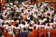 Head coach Dabo Swinney of the Clemson Tigers talks with his team prior to the College Football Playoff National Championship against the Alabama Crimson Tide at Levi's Stadium on January 07, 2019 in Santa Clara, California.