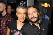 Carmine Rotondaro (L) and DJ Bob Sinclar at the Collini Unminimal Party during Milan Fashion Week Autumn / Winter 2019/20 on February 20, 2019 in Milan, Italy.