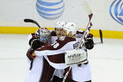 (L-R) Semyon Varlamov #1, Erik Johnson #6 and Patrick Bordeleau #58 of the Colorado Avalanche celebrate a win of the game against the Minnesota Wild on January 11, 2014 at Xcel Energy Center in St Paul, Minnesota. The Avalanche defeated the Wild 4-2.