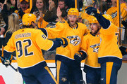 Ryan Johansen #92, Mattias Ekholm #14, and P.K. Subban #76 of the Nashville Predators congratulate teammate Viktor Arvidsson #33 on scoring a goal against the Colorado Avalanche during the second period in Game Two of the Western Conference First Round during the 2018 NHL Stanley Cup Playoffs at Bridgestone Arena on April 14, 2018 in Nashville, Tennessee.