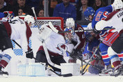Semyon Varlamov #1 of the Colorado Avalanche makes the first period save against the New York Rangers at Madison Square Garden on October 16, 2018 in New York City.