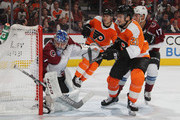 Semyon Varlamov #1 of the Colorado Avalanche guards the net during the second period against Scott Laughton #21 of the Philadelphia Flyers at the Wells Fargo Center on October 22, 2018 in Philadelphia, Pennsylvania.