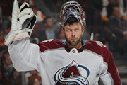 Semyon Varlamov #1 of the Colorado Avalanche takes a water break during the second period against the Philadelphia Flyers at the Wells Fargo Center on October 22, 2018 in Philadelphia, Pennsylvania.