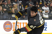 Max Pacioretty #67 of the Vegas Golden Knights skates with the puck during warmups before a preseason game against the Colorado Avalanche at T-Mobile Arena on September 24, 2018 in Las Vegas, Nevada. The Avalanche defeated the Golden Knights 5-3.