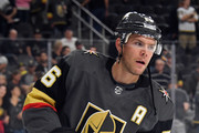 Paul Stastny #26 of the Vegas Golden Knights skates during warmups before a preseason game against the Colorado Avalanche at T-Mobile Arena on September 24, 2018 in Las Vegas, Nevada.