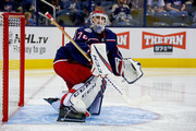 Sergei Bobrovsky #72 of the Columbus Blue Jackets warms up prior to the start of the third period during the game against the Colorado Avalanche on October 9, 2018 at Nationwide Arena in Columbus, Ohio. Columbus defeated Colorado 5-2.