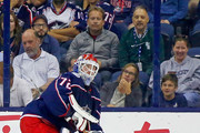 Sergei Bobrovsky #72 of the Columbus Blue Jackets controls the puck during the game against the Colorado Avalanche on October 9, 2018 at Nationwide Arena in Columbus, Ohio.