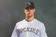 Justin Morneau #33 of the Colorado Rockies poses for a portrait during Photo Day at the Salt River Fields at Talking Stick on February 26, 2014 in Scottsdale, Arizona.