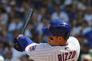 Anthony Rizzo #44 of the Chicago Cubs hits a solo home run in the 4th inning against the Colorado Rockies at Wrigley Field on May 2, 2018 in Chicago, Illinois.