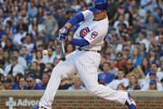 Anthony Rizzo #44 of the Chicago Cubs bats against the Colorado Rockies at Wrigley Field on April 30, 2018 in Chicago, Illinois. The Cubs defeated the Rockies 3-2.