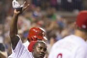 Ryan Howard #6 of the Philadelphia Phillies acknowledges the crowd after hitting a grand slam in the bottom of the fifth inning against the Colorado Rockies  at Citizens Bank Park on August 12, 2016 in Philadelphia, Pennsylvania. The Phillies defeated the Rockies 10-6.