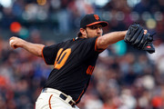 Madison Bumgarner #40 of the San Francisco Giants pitches against the Colorado Rockies during the first inning at AT&T Park on September 15, 2018 in San Francisco, California.
