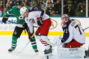 James Wisniewski #21 of the Columbus Blue Jackets and Sergei Bobrovsky #72 of the Columbus Blue Jackets defend a shot against Erik Cole #72 of the Dallas Stars in the first period at American Airlines Center on January 6, 2015 in Dallas, Texas.