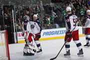 Sergei Bobrovsky #72 of the Columbus Blue Jackets is congratulated on a win against the Dallas Stars at the American Airlines Center on January 2, 2018 in Dallas, Texas.
