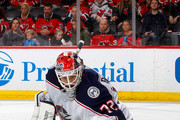 Sergei Bobrovsky #72 of the Columbus Blue Jackets makes a save in the second period against the New Jersey Devils on February 20, 2018 at Prudential Center in Newark, New Jersey.