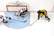 Phil Kessel #81 of the Pittsburgh Penguins looks to get a shot off on Sergei Bobrovsky #72 of the Columbus Blue Jackets in Game One of the Eastern Conference First Round during the 2017 NHL Stanley Cup Playoffs at PPG Paints Arena on April 12, 2017 in Pittsburgh, Pennsylvania. Pittsburgh won the game 3-1 to take a 1-0 series lead.