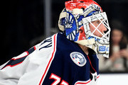 Sergei Bobrovsky #72 of the Columbus Blue Jackets takes a break during a stop in play in the second period of a game against the Vegas Golden Knights at T-Mobile Arena on January 23, 2018 in Las Vegas, Nevada. The Golden Knights won 6-3.
