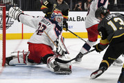 Sergei Bobrovsky #72 of the Columbus Blue Jackets blocks a shot by Brendan Leipsic #13 of the Vegas Golden Knights in the second period of their game at T-Mobile Arena on January 23, 2018 in Las Vegas, Nevada.