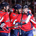 Alex Ovechkin Photos - Evgeny Kuznetsov #92 of the Washington Capitals celebrates with Alex Ovechkin #8  and Tom Wilson #43 after scoring a second period goal Columbus Blue Jackets during Game Five of the Eastern Conference First Round during the 2018 NHL Stanley Cup Playoffs at Capital One Arena on April 21, 2018 in Washington, DC. - Columbus Blue Jackets vs. Washington Capitals - Game Five
