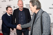 """Elijah Wood, director Ant Timpson and Stephen McHattie attend the """"Come To Daddy"""" screening at the 2019 Tribeca Film Festival at SVA Theater on April 25, 2019 in New York City."""