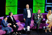 (L-R) Ken Jeong, Chris Redd, Jeff Ross, Blake Griffin and Nikki Glaser react onstage during the Comedy Central Roast of Alec Baldwin at Saban Theatre on September 07, 2019 in Beverly Hills, California.