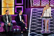 (L-R)  Blake Griffin, Sean Hayes and Nikki Glaser react onstage during the Comedy Central Roast of Alec Baldwin at Saban Theatre on September 07, 2019 in Beverly Hills, California.