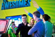 """(L-R) Actors Taran Killam and Josh Meyers promote Hulu's Original """"The Awesomes"""" during Comic-Con for """"The Awesomes"""" on July 26, 2014 in San Diego, California."""