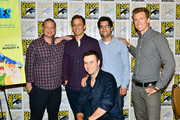 "(L-R) Co-Creator/Writer/Executive Producer Michael Shoemaker, actor Seth Meyers, actor Taran Killam, Head Writer Dan Mintz, and actor Josh Meyers  promote Hulu's Original ""The Awesomes"" during Comic-Con for ""The Awesomes"" on July 26, 2014 in San Diego, California."