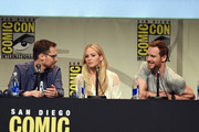 "(L-R) Director Bryan Singer, actress Jennifer Lawrence and actor Michael Fassbender from ""X-Men: Apocalypse"" speak onstage at the 20th Century FOX panel during Comic-Con International 2015 at the San Diego Convention Center on July 11, 2015 in San Diego, California."