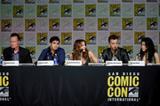 """(L-R) Actors Robert Patrick, Elyes Gabel, Katharine McPhee, Eddie Kaye Thomas, and Jadyn Wong speak onstage at the CBS TV Studios' panel for """"Scorpion"""" during Comic-Con International 2015 at the San Diego Convention Center on July 9, 2015 in San Diego, California."""