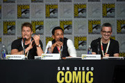 """(L-R) Actors Jake McDorman and Hill Harper and executive producer Alex Kurtzman speak onstage at the CBS TV Studios' panel for """"Limitless"""" during Comic-Con International 2015 at the San Diego Convention Center on July 9, 2015 in San Diego, California."""