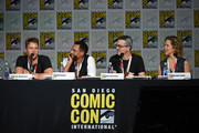 """(L-R) Actor Jake McDorman, executive producer Alex Kurtzman, actor Hill Harper, and executive producer Heather Kadin speak onstage at the CBS TV Studios' panel for """"Limitless"""" during Comic-Con International 2015 at the San Diego Convention Center on July 9, 2015 in San Diego, California."""
