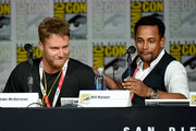 """Actors Jake McDorman (L) and Hill Harper speak onstage at the CBS TV Studios' panel for """"Limitless"""" during Comic-Con International 2015 at the San Diego Convention Center on July 9, 2015 in San Diego, California."""