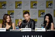 """(L-R) Actors Katharine McPhee, Elyes Gabel and Jadyn Wong speak onstage at the CBS TV Studios' panel for """"Scorpion"""" during Comic-Con International 2015 at the San Diego Convention Center on July 9, 2015 in San Diego, California."""