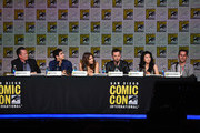 """(L-R) Actors Robert Patrick, Elyes Gabel, Katharine McPhee, Eddie Kaye Thomas, and Jadyn Wong, and writer Nicholas Wootton speak onstage at the CBS TV Studios' panel for """"Scorpion"""" during Comic-Con International 2015 at the San Diego Convention Center on July 9, 2015 in San Diego, California."""