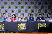 "(L-R) Actors Josh Dallas, Lana Parrilla, Jennifer Morrison, Colin O'Donoghue, writer/producers Adam Horowitz and Edward Kitsis, and moderator Yvette Nicole Brown attend the ""Once Upon A Time"" panel during Comic-Con International 2016 at San Diego Convention Center on July 23, 2016 in San Diego, California."