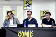 """(L-R) Actor Benedict Cumberbatch, actor/writer/producer Mark Gatiss, and writer/producer Steven Moffat attend the """"Sherlock"""" panel during Comic-Con International 2016 at San Diego Convention Center on July 24, 2016 in San Diego, California."""
