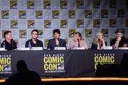 """(L-R) Writer/producer Kevin Williamson, actors Paul Wesley and Ian Somerhalder, writer/producer Julie Plec, actors Candice King and Matt Davis attend the """"The Vampire Diaries"""" panel during Comic-Con International 2016 at San Diego Convention Center on July 23, 2016 in San Diego, California."""