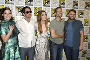 """(L-R) Actors Elise Eberle, Iddo Goldberg, Janet Montgomery, Shane West and Seth Gabel attend WGN's """"Salem"""" Press Line during Comic-Con International 2016 at Hilton Bayfront on July 22, 2016 in San Diego, California."""