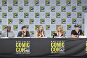 """(L-R) Actors Dule Hill, James Roday, Maggie Lawson, Kirsten Nelson, and Corbin Bernsen speak onstage at the """"Psych"""" reunion and movie sneak peek during Comic-Con International 2017 at San Diego Convention Center on July 21, 2017 in San Diego, California."""