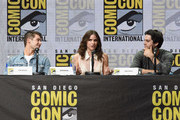 """(L-R) Actors Cody Christian, Shelley Hennig and Dylan O'Brien speak onstage at the """"Teen Wolf"""" panel during Comic-Con International 2017 at San Diego Convention Center on July 20, 2017 in San Diego, California."""