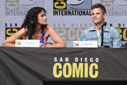 """Actors Melissa Ponzio (L) and Charlie Carver speak onstage at the """"Teen Wolf"""" panel during Comic-Con International 2017 at San Diego Convention Center on July 20, 2017 in San Diego, California."""