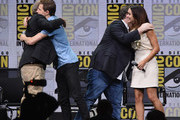 """(L-R) Director Steven Spielberg, actor Tye Sheridan, writer Ernest Cline, and actor Olivia Cooke attend the Warner Bros. Pictures """"Ready Player One"""" Presentation during Comic-Con International 2017 at San Diego Convention Center on July 22, 2017 in San Diego, California."""