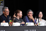 """(L-R) Rich Appel, Seth Green,  Alec Sulkin and Alex Borstein speak onstage at the """"American Dad"""" and """"Family Guy""""  Panel during Comic-Con International 2018 at San Diego Convention Center on July 21, 2018 in San Diego, California."""