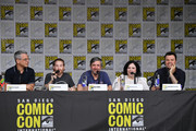 """(L-R) Rich Appel, Seth Green, Alec Sulkin, Alex Borstein, and Seth MacFarlane speak at the """"American Dad"""" and """"Family Guy"""" Panel during Comic-Con International 2018 at San Diego Convention Center on July 21, 2018 in San Diego, California."""