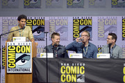 "(L-R) Karan Soni, David Leitch, Paul Wernick, and Rhett Reese speak onstage at the ""Deadpool 2"" panel during Comic-Con International 2018 at San Diego Convention Center on July 21, 2018 in San Diego, California."