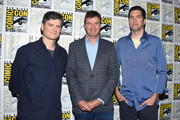 (L-R) Michael Schur, Morgan Sackett, and Drew Goddard attend the 'The Good Place' Press Line during Comic-Con International 2018 at Hilton Bayfront on July 21, 2018 in San Diego, California.