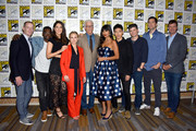 (L-R) Marc Evan Jackson, William Jackson Harper, D'Arcy Carden, Kristen Bell, Ted Danson, Jameela Jamil, Manny Jacinto, Michael Schur, Drew Goddard, and Morgan Sackett attend the 'The Good Place' Press Line during Comic-Con International 2018 at Hilton Bayfront on July 21, 2018 in San Diego, California.