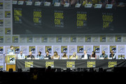 "(L-R) Ben Travers, John Cameron, Jeph Loeb, Nathaniel Halpern, Dan Stevens, Rachel Keller, Aubrey Plaza, Jean Smart, Bill Irwin, Amber Midthunder, Jeremie Harris and Navid Negahban onstage at the ""Legion"" discussion and Q&A during Comic-Con International 2018 at San Diego Convention Center on July 22, 2018 in San Diego, California."